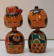 Oriental Asian Wood Bobble Head Doll Set Boy and Girl Hand Painted Vintage