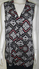 KATIES Womens sleeveless Black, White & Pink top size 12