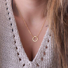Gold Simple fashion Thin Chain Necklace With Ring Pendant Forever Ring Circle