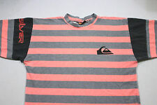 Sz L Vtg 80's 90's QUICKSILVER Spellout Pink Neon Striped Surf Skate USA T-Shirt