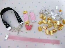"30 Gold & Silver 3/8"" Ribbon/Trim Clasp Clip Bead/Charm Finding/Tool/Beading JF7"