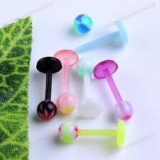 10pcs 16g Mixed UV Round Ball Top Labret Lip Ring Barbell Bars Piercing Jewelry