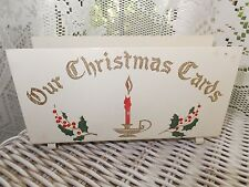 VINTAGE 1950's OUR CHRISTMAS CARDS METAL CARD HOLDER