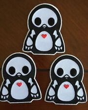 "Lot of Three Skelanimals Penguin Pen Iron-on patch Approx 2.5""x3"""