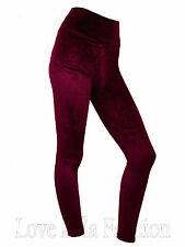 Womens Velvet Leggings High Waist Evening Leggins Soft Plush Velvety Pants New