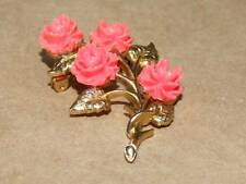 VTG JJ Jonette Jewelry Nouveau Style Gold Tone Faux Coral Rose Flower Pin Brooch