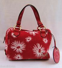 Juicy Couture Red Point Velour and Leather Satchel Tote Handbag
