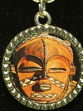 """Tribal Indian African Mask Checkered Charm Tibetan Silver with 18"""" Necklace AM3"""