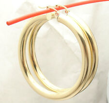"5mm X 50mm 2"" Large Plain Shiny Hoop Earrings REAL 14K Yellow Gold FREE SHIPPING"