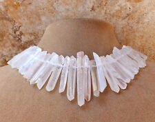 FROSTED SUGAR RAW Rough Rock QUARTZ Statement NECKLACE BIG Stone JEWELRY US MADE