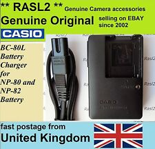 Genuino Original CASIO Charger BC-80L NP-80 NP-82 EX-G1 Z800 Z820 Z500 Z550
