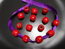 30pcs 16mm x 15mm WOODEN Pony Dreadlock Drum Wood Beads - RED ( Large Hole 7mm )