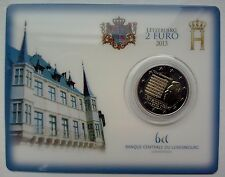 """2 euro Commémorative, Coincard Luxembourg 2013, """"L'Hymne National""""."""