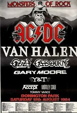 7/7/84pg10 Monsters Of Rock Concert Advert 84 15x10 Ac/dc, Van Halen, Ozzy Osbou