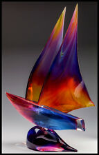 DINO ROSIN Original Hand Blown Murano Glass Sculpture Large SAILBOAT Signed Art