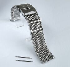 24mm SHARK MESH Polished Stainless Steel, Heavy Duty, Diving, Dive Watch Strap