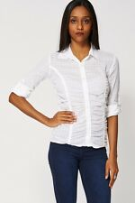 Ladies White Sheer Button Up Shirt Ruffle Effect Blouse - UK 6/8