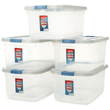 Clear Storage Tote Box Container Plastic Lid Bin Organizer Large Boxes 50-Quart