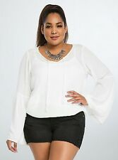 NWT TORRID Plus Size 1X XL White Gauze Crochet Bell Sleeve Blouse Top (OO3)