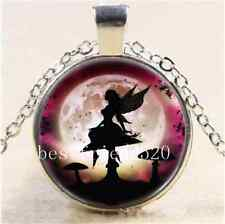 Rose Fairy In Moon Cabochon Glass Tibet Silver Chain Pendant Necklace
