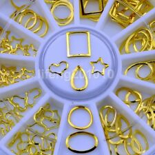New 3D Metal Gold Nail Art Decoration Frame Wheel Nails Slice Circle Accessories