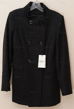Cinzia Rocca Due Plaid Double-Breasted Wool Coat Italy Made 6 *Navy* NEW w/ TAGS