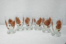 Vintage Retro Eames Era Anchor Hocking Enchant Ware 6 Tumblers, Glasses Brown.
