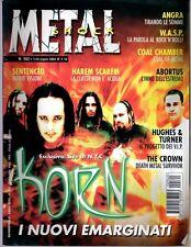 METAL SHOCK N°362/2002 KORN ANGRA HAREM SCAREM SENTENCED ABORTUS HUGHES & TURNER