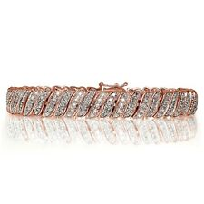 18K Rose Gold Plated Brass 1.00ct TDW Natural Diamond Tennis Bracelet