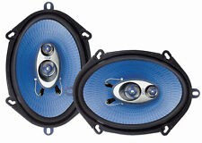 "New PYLE PL573BL 6X8"" / 5x7"" 300 Watts 3-Way 4 OHM Car Stereo Speakers Pair Blue"