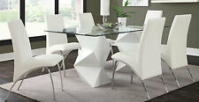 ULTRA MODERN WHITE ZIGZAG DINING TABLE 6 CHAIRS DINING ROOM FURNITURE SET