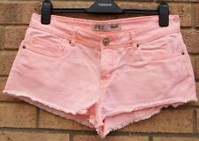 PRIMARK NEON LIGHT PINK FRINGE DENIM JEANS SUMMER HOT PANTS SHORTS 12 M