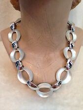 """ALEXIS BITTAR SILVER TONE  WHITE SILVER LUCITE LINK NECKLACE - 18.5"""""""