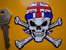 Union Jack Bandana usando Skull & Crossbones Custom Car Hot Rod Bicicleta pegatina