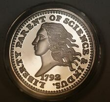1792 Like Disme Coin 2 Ozt Fine Silver Proof Hard Plastic Case 47 mm