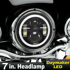 "7"" LED Projector Daymaker Headlight Halo Ring For Harley Street Glide FLHX"