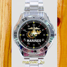NEW RARE US Marine Corps CUSTOM CASUAL CHROME MEN'S WATCH WRISTWATCHES