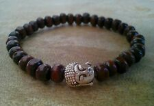 Mens/Womens Brown Wood Beaded Surfer Bracelet Tibetan Silver Buddha Head Charm