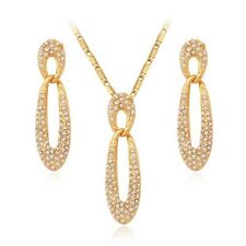 18K Gold Plated Swarovski Element Crystal Earrings And Necklace Jewellery Set