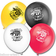 "8 Happy Pirate Skull Happy Birthday Party 12"" Printed Latex Balloons"
