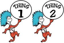 Thing 1 and Thing 2 # 10 - 8 x 10 Tee Shirt Iron On Transfer (CAN BE CUT INTO 2)
