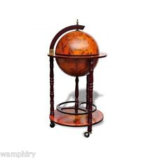 Globe Drinks Cabinet Trolley Home Lounge Decoration Mini Bar Bottle Holder Brown