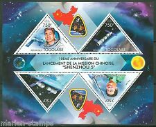 TOGO 2013 10th ANNIVERSARY FIRST CHINESE  SPACE MISSION SHENZHOU 5 SHEET MINT NH