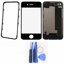 Back Cover Housing Battery Door + Front Outer Glass + Frame Bezel For iPhone 4s