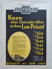 1926 Chevrolet  Motor Car Offers These Low Prices Original Color Ad