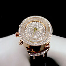 Men's 14k Rose Gold Finish Lab Diamond Iced Out Silicon Strap Jojo Jojino Watch