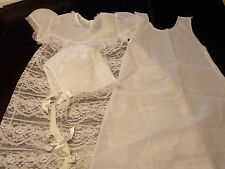 Christening Baptism Baby Infant Lacy Gown, Shift & Matching Satin Cap 0-12 Mos