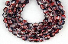 50 Czech Fire Polished Glass Beads Dark Pink Purple Round Faceted Spacer 6mm