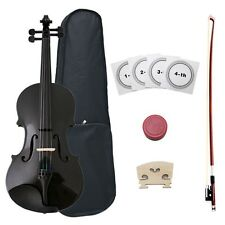 NEW BLACK VIOLIN/FIDDLE ~FULL SIZE 4/4~W/ CASE & BOW