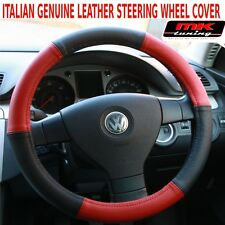 VW Touran T4 T5 Van Transporter Caravelle Black Red Leather Steering Wheel Cover